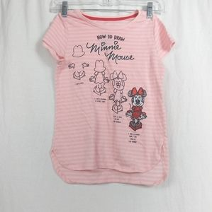 Disney How To Draw Minnie Mouse Graphic Shirt L